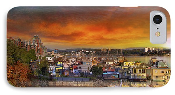 Sunset At Victoria Inner Harbor Fisherman's Wharf Phone Case by David Gn
