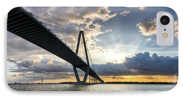 Sunset Behind Arthur Ravenel Jr Bridge Charleston South Carolina Phone Case by Dustin K Ryan