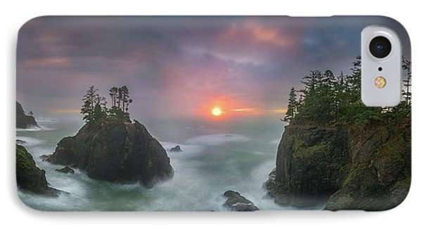 IPhone Case featuring the photograph Sunset Between Sea Stacks With Trees Of Oregon Coast by William Lee