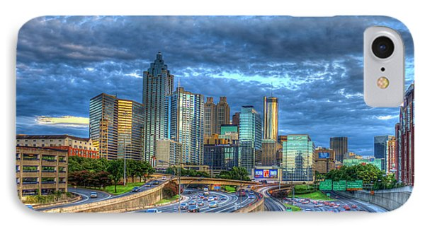 IPhone Case featuring the photograph Sunset Blue Glass Reflections Atlanta Downtown Cityscape Art by Reid Callaway