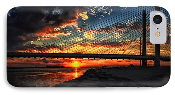Sunset Bridge At Indian River Inlet IPhone Case by Bill Swartwout