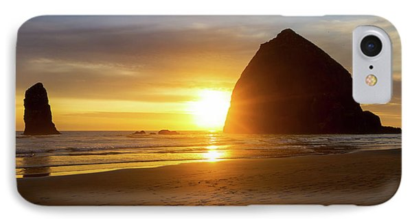 Sunset By Haystack Rock At Cannon Beach Phone Case by David Gn