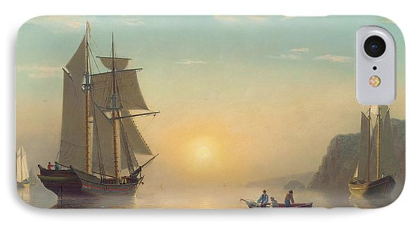 Boat iPhone 7 Case - Sunset Calm In The Bay Of Fundy by William Bradford