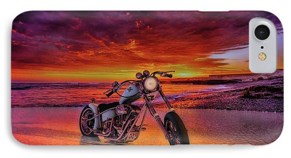 IPhone Case featuring the photograph sunset Custom Chopper by Louis Ferreira