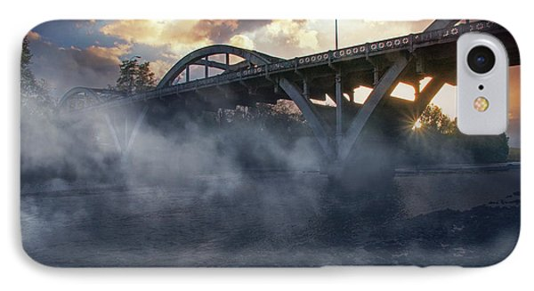 Sunset Fog At Caveman Bridge IPhone Case by Mick Anderson