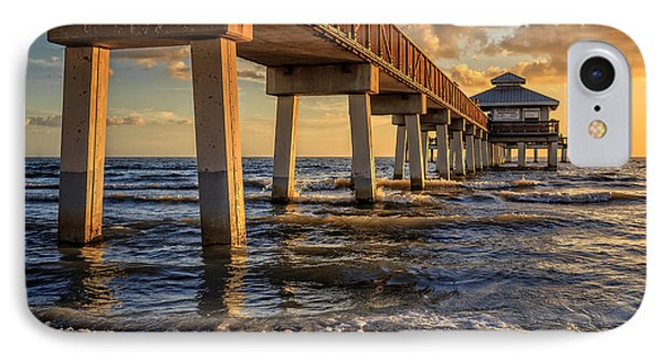 Sunset Fort Myers Beach Fishing Pier Phone Case by Edward Fielding