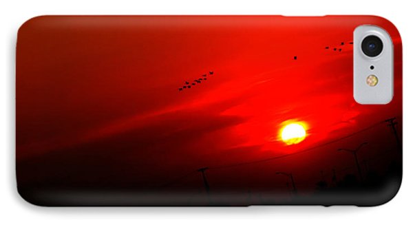 Sunset Geese Leaving Disappearing City - 0814  IPhone Case by Michael Bessler