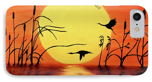 Sunset Geese IPhone Case by Teresa Wing