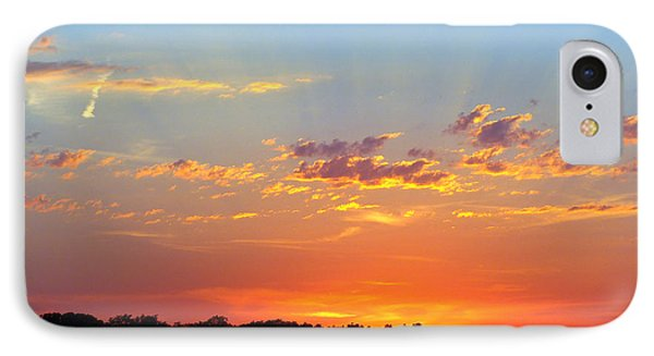 IPhone Case featuring the digital art Sunset Glory Orange Blue by Jana Russon