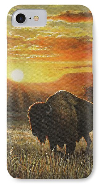 Sunset In Bison Country IPhone Case by Kim Lockman