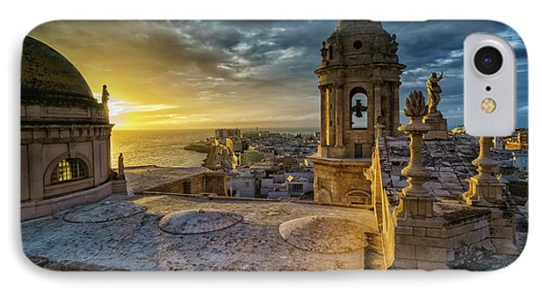IPhone Case featuring the photograph Sunset In Cadiz Cathedral View From Levante Tower Cadiz Spain by Pablo Avanzini