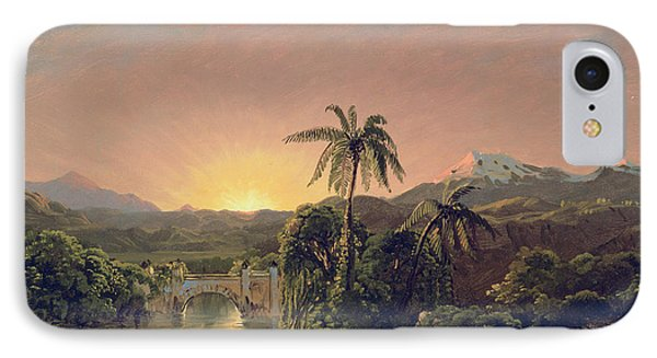 Sunset In Equador IPhone Case by Frederic Edwin Church
