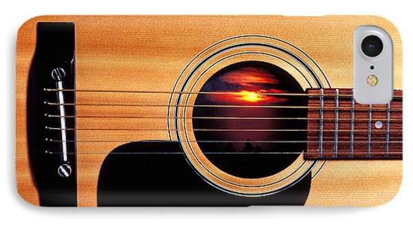 Sunset In Guitar IPhone Case by Garry Gay
