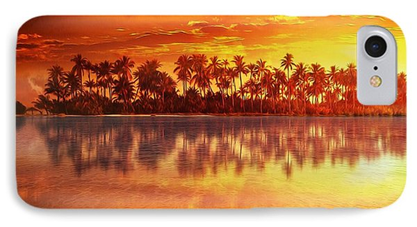 IPhone Case featuring the mixed media Sunset In Paradise by Gabriella Weninger - David