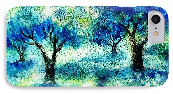 IPhone Case featuring the painting Sunset In The Olive Grove  by Trudi Doyle