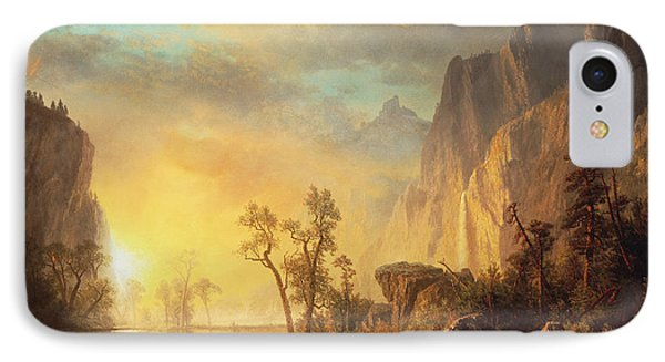 Mountain iPhone 7 Case - Sunset In The Rockies by Albert Bierstadt