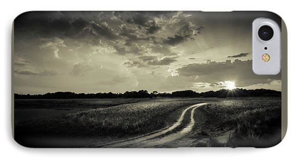 Sunset Lane-bw IPhone Case by Marvin Spates