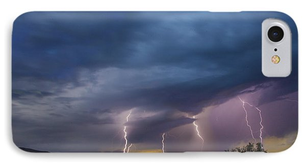 IPhone Case featuring the tapestry - textile Sunset Lightning by Kathy Adams Clark