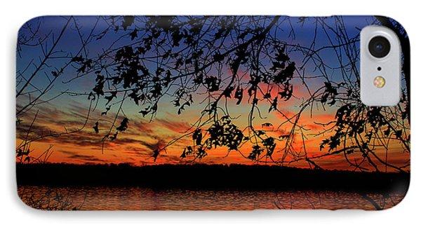 Sunset Oak Silhouettes Sky Reflective Art IPhone Case