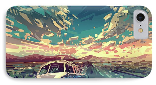 Sunset Oh The Road IPhone Case by Bekim Art