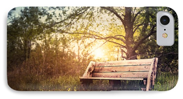 Sunset On A Wooden Bench IPhone Case by Scott Norris