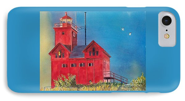 IPhone Case featuring the painting Sunset On Holland Light by LeAnne Sowa