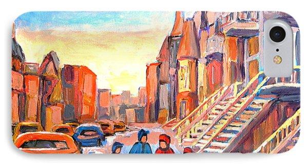 Sunset On Hotel De Ville Street Montreal Phone Case by Carole Spandau