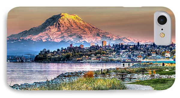 Sunset On Mt Rainier And Point Ruston IPhone Case by Rob Green