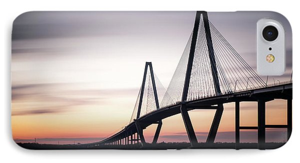 Sunset On The Ravenel Bridge IPhone Case by Ivo Kerssemakers