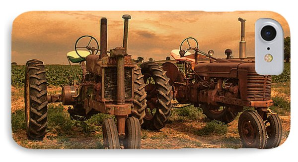 Sunset On The Tractors IPhone Case by Ken Smith