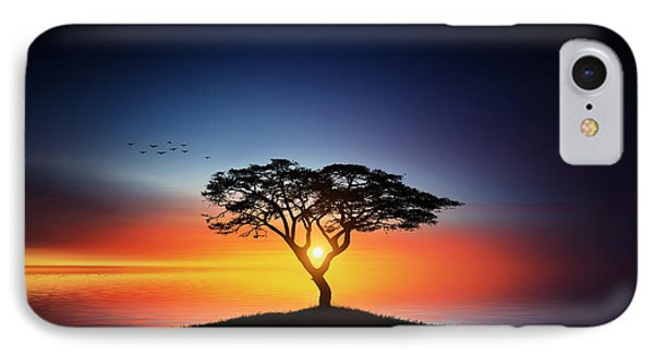 Sunset On The Tree IPhone Case by Bess Hamiti