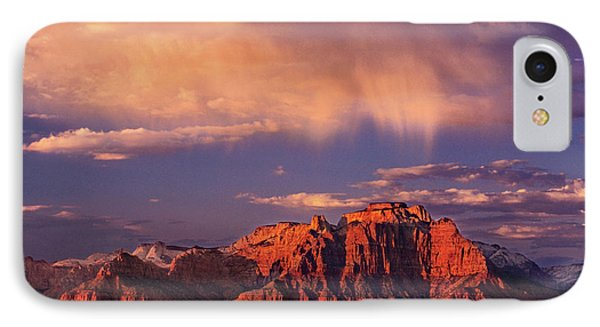 Sunset On West Temple Zion National Park IPhone Case by Dave Welling