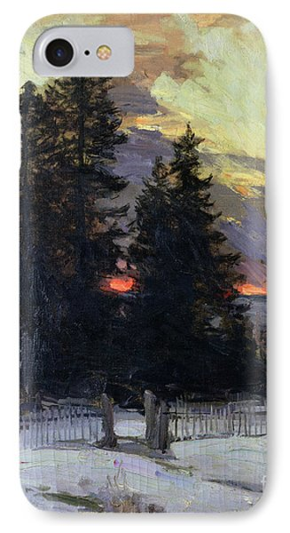 Sunset Over A Winter Landscape IPhone Case by Abram Efimovich Arkhipov