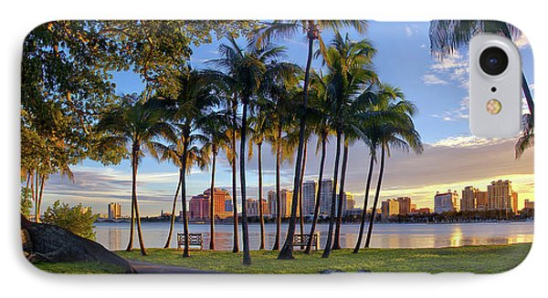 Sunset Over Downtown West Palm Beach From Palm Beach Island IPhone Case by Justin Kelefas