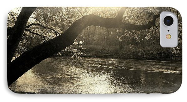 Sunset Over Flat Rock River - Southern Indiana - Sepia IPhone Case by Scott D Van Osdol