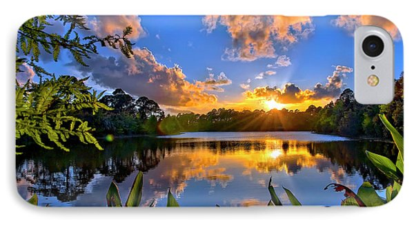 Sunset Over Hidden Lake In Jupiter Florida IPhone Case by Justin Kelefas
