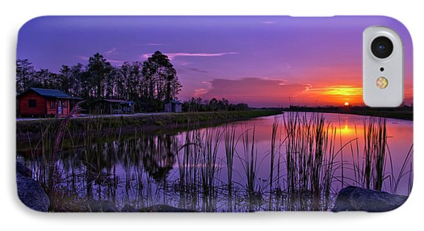 Sunset Over Hungryland Wildlife Management Area IPhone Case by Justin Kelefas