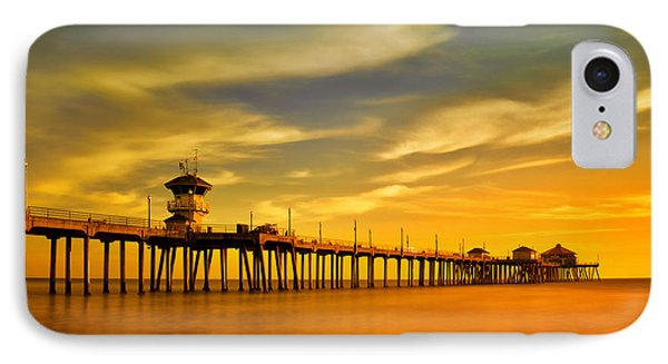 Sunset Over Huntington Beach Pier IPhone Case by Peter Dang