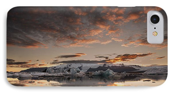 Sunset Over Jokulsarlon Lagoon, Iceland IPhone Case by Chris McKenna