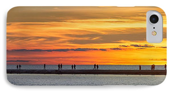 IPhone 7 Case featuring the photograph Sunset Over Ludington Panoramic by Adam Romanowicz