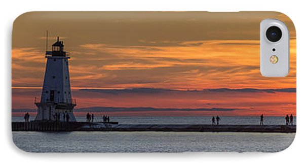 IPhone Case featuring the photograph Sunset Over Ludington Panoramic by Adam Romanowicz