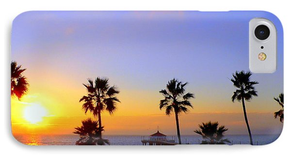 Sunset Over Manhattan Beach IPhone Case by Jeff Lowe