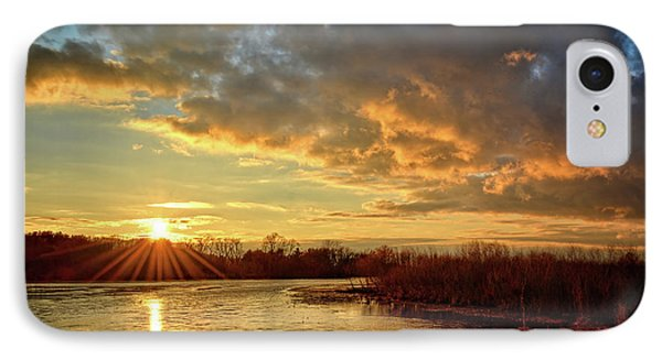 Sunset Over Marsh IPhone Case by Bonfire Photography