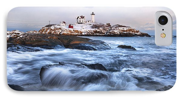 Sunset Over Nubble Light Phone Case by Eric Gendron