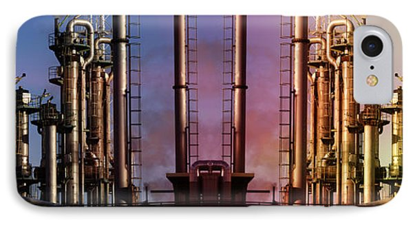 Sunset Over Oil And Gas Industry IPhone Case by Christian Lagereek