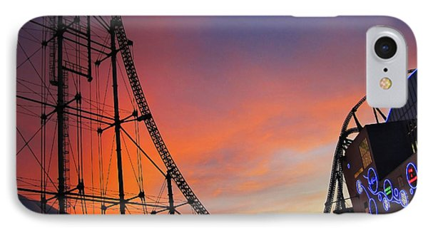 Sunset Over Roller Coaster IPhone Case by Eena Bo