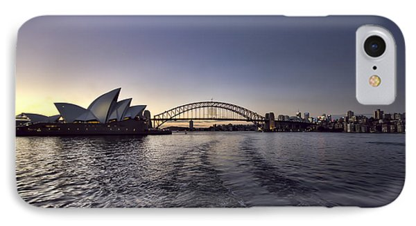 Sunset Over Sydney Harbor Bridge And Sydney Opera House Phone Case by Douglas Barnard