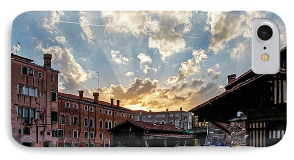 Sunset Over The Gondola Shop In Venice IPhone Case by Jean Haynes