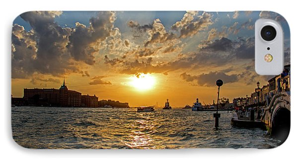 Sunset Over The Grand Canal In Venice IPhone Case by Jean Haynes