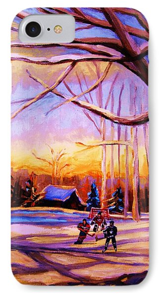 Sunset Over The Hockey Game Phone Case by Carole Spandau